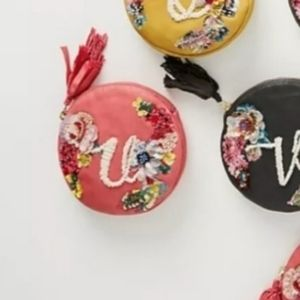 Anthropologie Embellished Leather Monogram Pouch